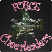 Force Cheerleaders Hot Fix Glitter , Star Rhinstone Transfer Wholesale