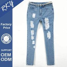 Custom Design Color Fade Proof Ripped Jeans For Women