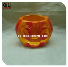 Distinctive Smiling Face Pumpkin Decor Halloween Ceramic Crafts