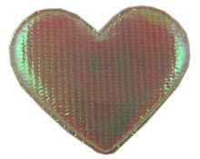 wedding design shining reflective fabric heart patch embossed girls decoration with 2.5cm