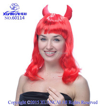 Popular wholesale synthetic hair devil costume wig red with bang