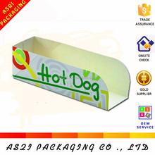2015 Latest popular custom logo printed folding cardboard hot dog box