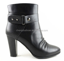 fashion women ankle boots autumn winter casual short boot zip 2015 PU wrinklesquare high heels emboss pumps lady shoes
