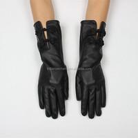2015 fancy womens dress opera long black hand leather gloves
