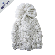 Wholesale Winter Warm Acrylic Knitted Lady Hat/Lady Knitting Hat with Pom
