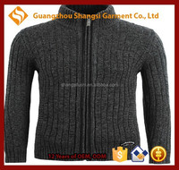 guangzhou men zip-up high neck tight long sleeve cotton cardigan jacket sweater