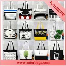 2015 Fashion Heavy Duty Eco-friendly Cheap 100% Cotton Custom Printed Beach Canvas Bag For Tote Bag