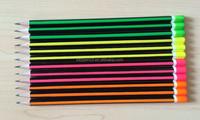 7''12 pcs HB fluorescence strip pencils with fluorescenec dipped head