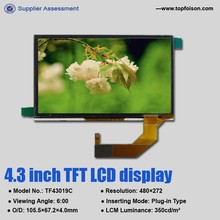 High luminance 4.3 inch tft lcd 480*272 with capacitive touch screen TF43019A