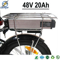 Rechargeable 1440W 48V 20Ah 8P13S 18650 48 volt electric bicycle battery with BMS board bottle Alu Shell Charger