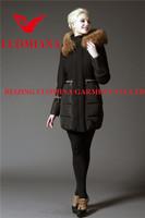 wool mark standing collar women suit