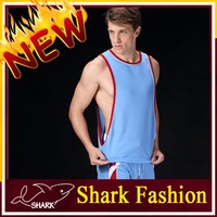 Shark Fashion blue color gym workout tank top with printed logo on it