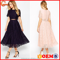 Lined floral lace copped layer midi prom dress sexy prom tube dress