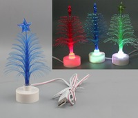 New design color battery operate USB LED mini christmas fiber optic tree
