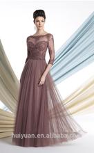 vestido de encaje de manga larga de gasa elegante de cuello alto