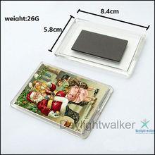 Popular Rectangle plastic magnet photo insert acrylic fridge magnet (DW-1168)