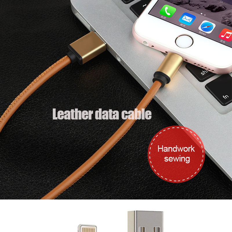 Fast Charge 8 Pin PU leather usb cable for iphone 6 usb cable