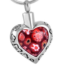 SRP8367-Red Golden China Wholesale Cremation Necklace Heart Murano Glass Stainless Steel Cremation Urn Pendant
