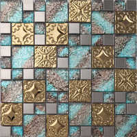 stainless steel mosaic + glass mosaic