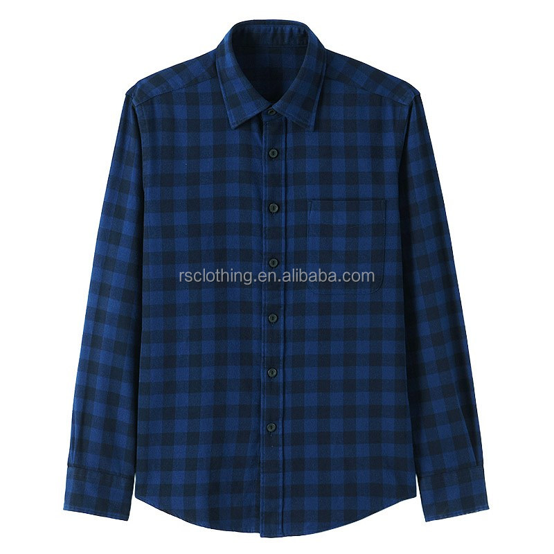 Cotton Plaid Flannel Shirt Mens Casual Shirt