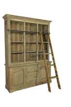 Best Selling European Style Antique furniture reclaimed wood bookcase with ladder, old solid wood bedroom furniture