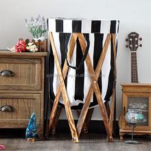 Black and White Stripes Large Laundry Basket