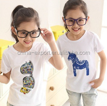 zr1 2015 wholesale fashion summer hot sale new cotton girls fresh simple white printed T-shirt 6-16 years 4 styles
