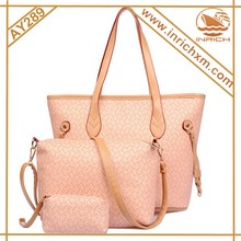 PU Material 3pcs Set Cheap Purse and Handbag