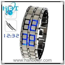 New Mini Style Japanese Lava Iron Samurai Red/Blue LED Digital Wrist Watch Unisex