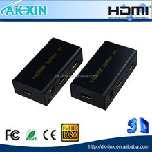 3D HDMI SPlitter 1X2 Split One HDMI Input To 2 HDMI Output With Power Adapter