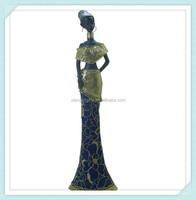 African painting polyresin woman figurine