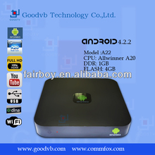 CX-818 Android 4.2.2 Mini PC TV BOX Dual Core Rockchip RK3066 1.6GHz AV Out Built-in Microphone Black