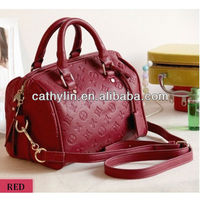 Rose purple&red&black High-quality PU leather lady's handbag shoulder bag 2013 for promotion