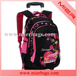 2015 New Kids Trolley Backpack School Bag With Wheels For Girls