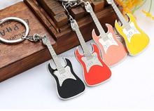 Guitar shape key rings,Green metal key chains,Key buckle wholesale