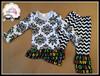 yawoo wholesale clothing black floral damask tee shirt with chevron ruffle pants baby clothing mathing girls boutique clothing