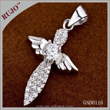 2015 designer new arrival angel wing 925 sterling silver bright zircon pendant