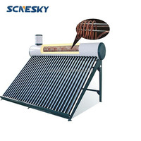 150 Liter Passive Solar Water Heater with Attached Pressurized Tank Evacuated Tubes Hot