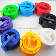 Latest designed candy colorful unisex plastic rubber silicone belts, TPE waist belts for promotion