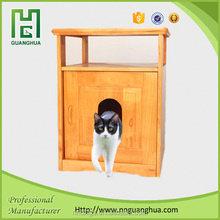 Pet & human interactive cat litter box wooden pet product