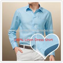 Elegante hombres de manga larga azul cielo 100% de lino camisa de vestir