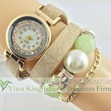 2014 New design leather pearl bracelet fashion lady watch wholesale, high quality handmade quartz fashion lady watch stock