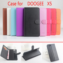 9 Colors Ultra-thin Fashion Flip Leather Mobile Phone Cover Case For DOOGEE X5 X5 Pro Cellphone Leather Litchi grain Shell