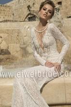 S1196 sexy v-ausschnitt langarm durchschauen spitze marokkanischen hochzeitskleid
