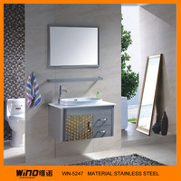 Ceramic basin bathroom stainless steel cabinet with bar sink