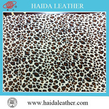 Glitter effect leopard pattern printed PVC artificial leather