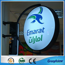 wall mounting illuminated rotated aluminum advertising signs for shops