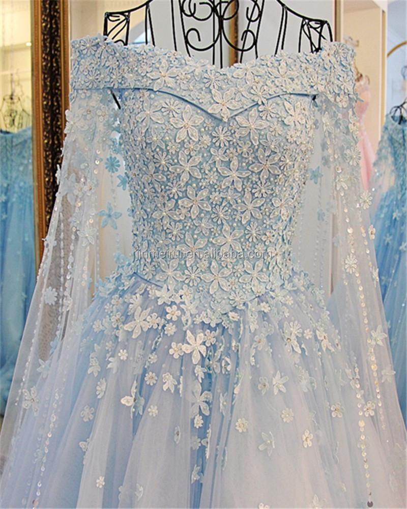 Gorgeous Light Blue Wedding Dresses Boat Neck Long Sleeves Lace ...