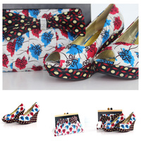 2016 Top Sale High Quality High Heel Wax Shoes And Bag For Ladies/Ankara shoes and bag for Women