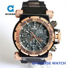Rose gold bezel king size men watch with silicone strap